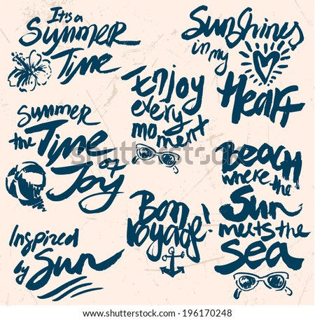 Hand Drawn Retro elements for Summer calligraphic designs - stock vector