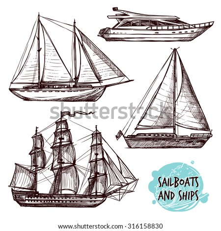 Hand drawn retro sail ships and speed boat set isolated vector illustration - stock vector