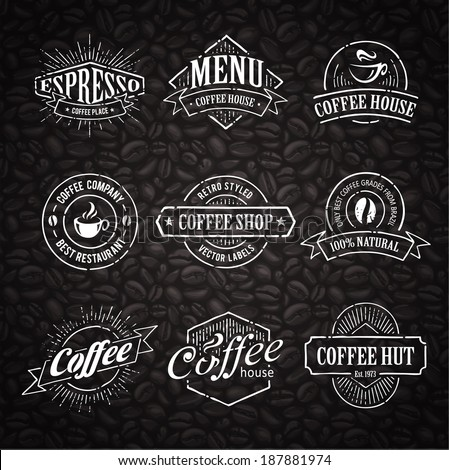 Hand-drawn retro stamps on coffee seamless background. - stock vector