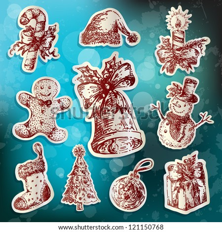 Hand-drawn retro-styled set of Christmas icons - stock vector
