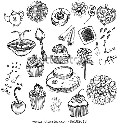 Hand-drawn retro tea and coffee doodle set - stock vector