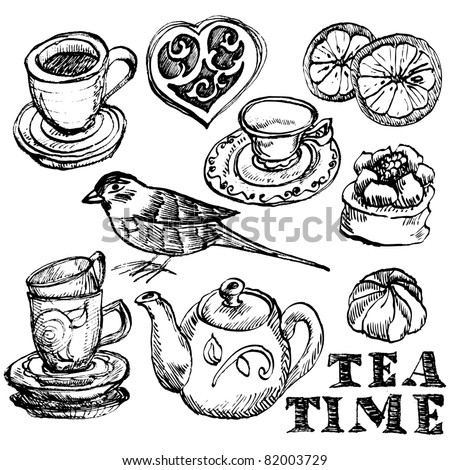 Hand-drawn retro tea time collection - stock vector