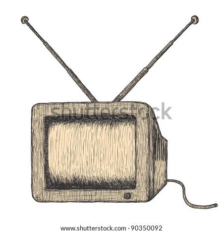 Hand drawn retro TV, detailed - stock vector