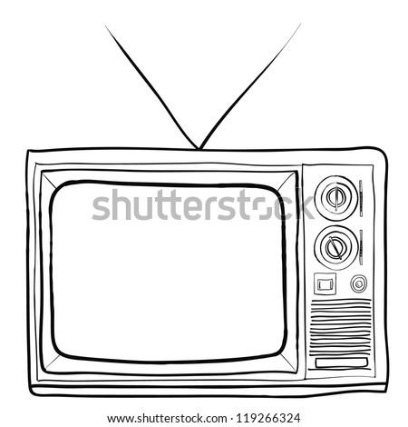 hand drawn retro TV vector - stock vector