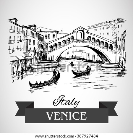 Hand drawn Rialto Bridge, Venice - stock vector