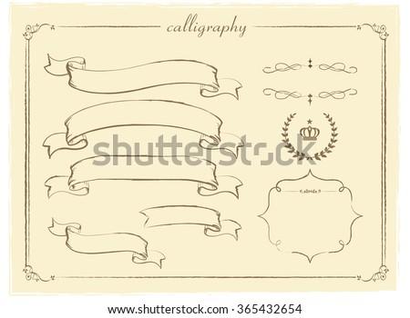 Hand drawn ribbon Vector  - stock vector