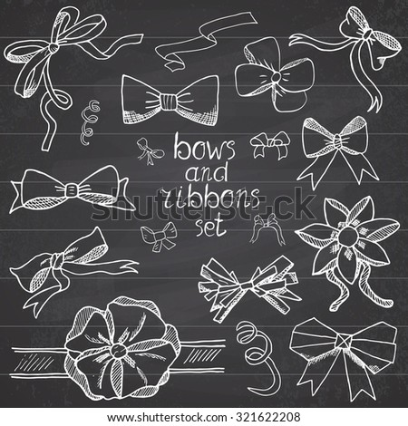 Hand drawn ribbons and bows set vector illustration. A collection of graphic ribbons and bows, design elements set on chalkboard. - stock vector