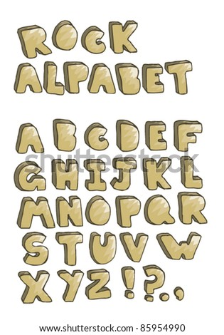 Hand drawn rock alphabet isolated on white