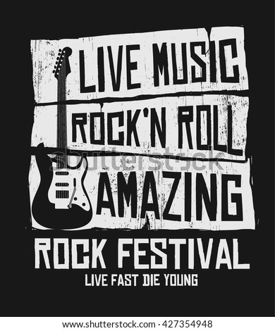Hand drawn Rock festival poster. Rock and Roll sign. - stock vector