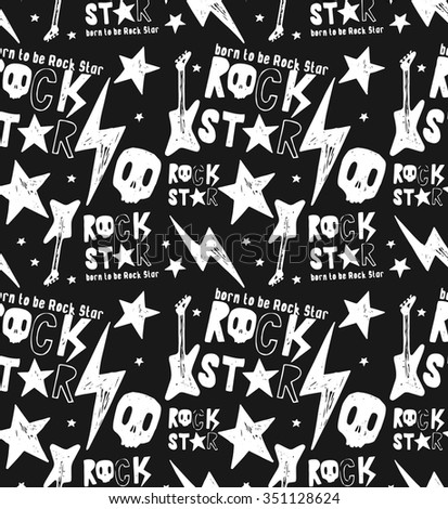 Hand drawn Rock Star typography. - stock vector
