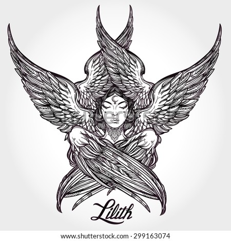Hand drawn romantic beautiful artwork of fallen angel Lilith, demon with 6 wings, Black Moon planet in astrology. Alchemy, religion, spirituality, occultism, tattoo art. Isolated vector illustration. - stock vector
