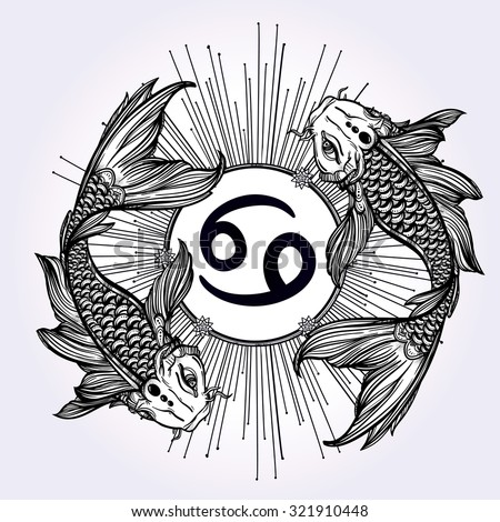 Hand drawn romantic beautiful line art of zodiac Pisces. Vector illustration isolated. Ethnic design, mystic horoscope symbol for your use. Ideal for tattoo art, coloring books. Sea spirit. - stock vector