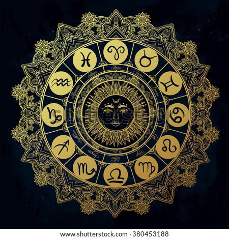 Hand drawn romantic beautiful line art of zodiac set with sun in the middle. Vector illustration isolated. Ethnic design, mystic horoscope symbol for your use. Ideal for tattoo art, coloring books. - stock vector