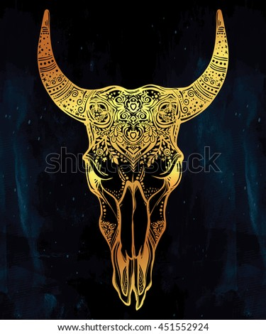 Hand drawn romantic ornate beautiful decorative bull skull. Spiritual native indian navajo art. Vector illustration isolated. Ethnic design, mystic tribal boho tattoo or festival symbol for your use. - stock vector