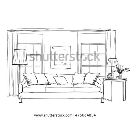 Hand Drawn Room Interior Sketch Chair And Window