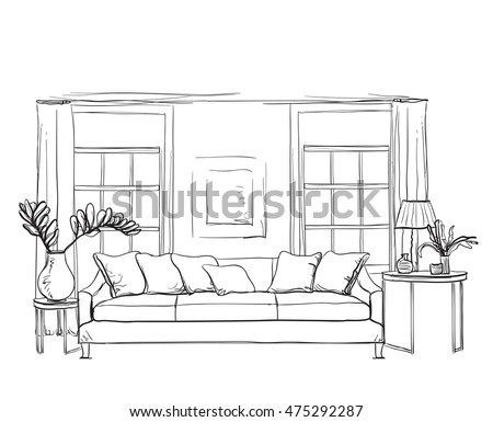 Living Room Sketch Stock Images Royalty Free Images Vectors