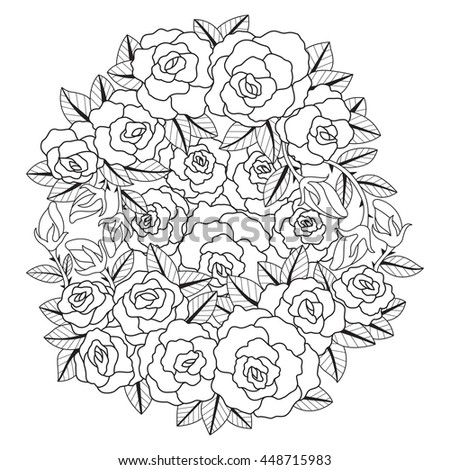 Hand Drawn Rose Flower Design For Coloring Book Adult Other DecorationsZen Tangle Style