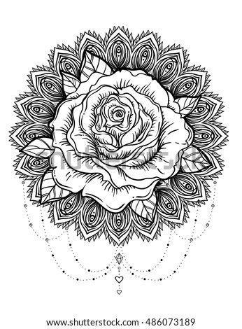 hand drawn rose flower over ornate stock vector 486073189 shutterstock. Black Bedroom Furniture Sets. Home Design Ideas