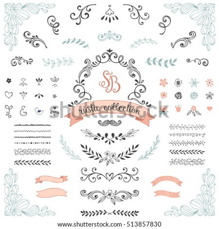 Hand Drawn Rustic Design Collection Ornate Motives Branches Dividers Wreaths Frames
