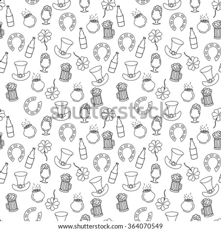 Hand Drawn Saint Patricks Day Seamless Pattern For Adult Coloring Pages In Doodle Style Ethnic