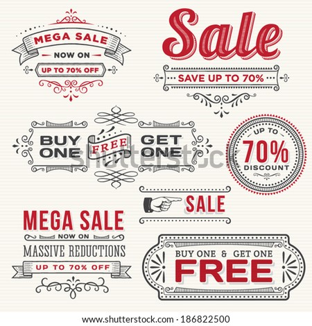 Hand Drawn Sale Banners - stock vector