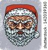 Hand-drawn Santa Claus, expresses anger. - stock vector