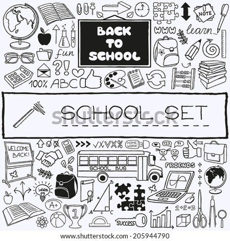 Hand drawn school icons set. Back to school concept. Vector Illustration. - stock vector