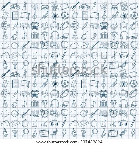 Hand drawn school icons set. Vector illustration.