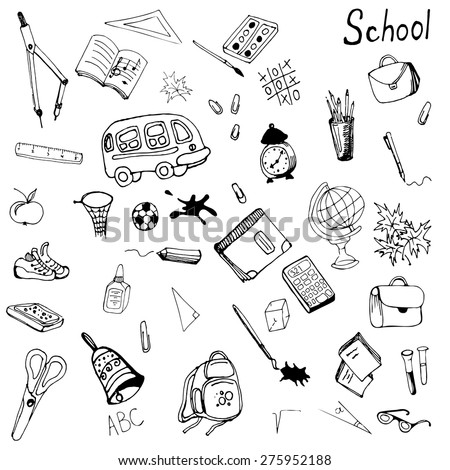 Hand drawn school items set. Vector illustration in eps8 format.