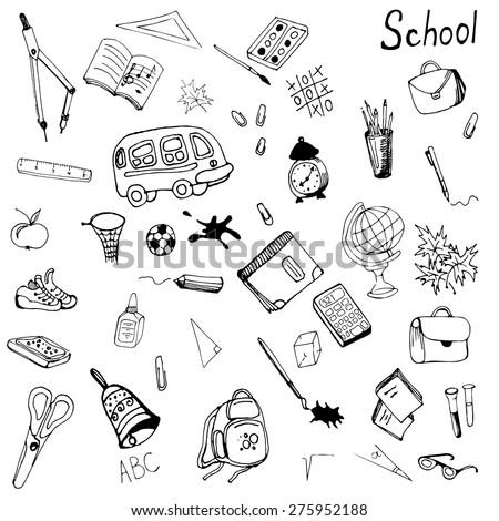 Hand drawn school items set. Vector illustration in eps8 format. - stock vector
