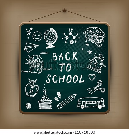 Hand-drawn school set. Back to school illustration. - stock vector
