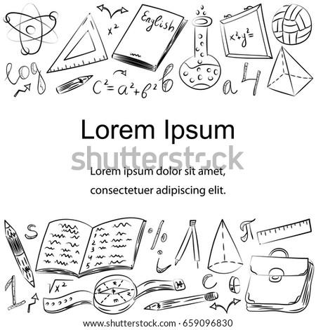 Hand Drawn School Symbols Children Drawings Stock Vector 2018