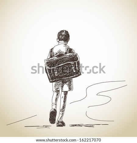 Hand drawn schoolboy with retro backpack - stock vector