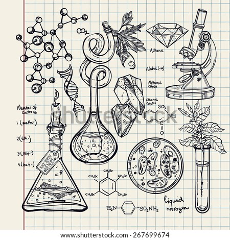 Hand drawn science beautiful vintage lab icons sketch set . Vector illustration.Back to School. Doodle lab equipment. Note book page paper.Biology geology alchemy chemistry, magic. tattoo elements.   - stock vector