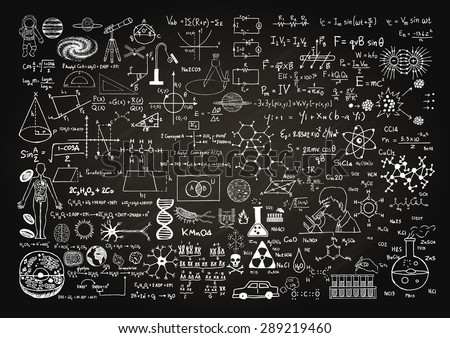 Hand drawn science formulas on chalkboard for background. - stock vector