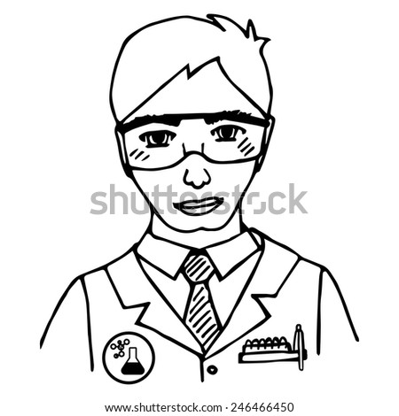 Hand-drawn scientist. Doodle. Isolated. vector illustration - stock vector