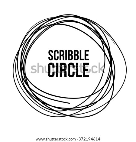 Hand Drawn Scribble Circle on white, vector logo design element - stock vector
