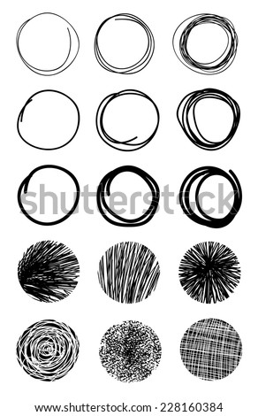 Hand Drawn Scribble Circles.Design elements Eps 10 - stock vector