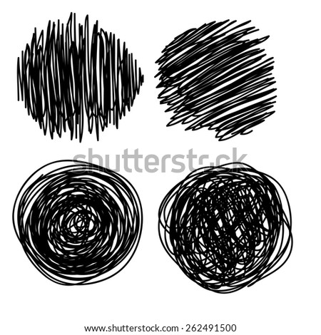 Hand drawn scribble, set of doodle circles, isolated on white background. Vector illustration. - stock vector