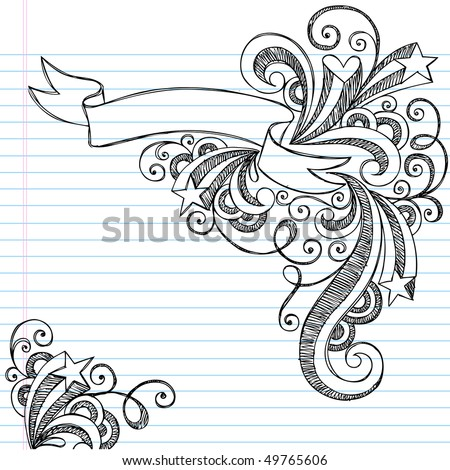 Hand-Drawn Scroll Banner Sketchy Notebook Doodles with Stars and Swirls- Vector Illustration on Lined Sketchbook Paper Background - stock vector