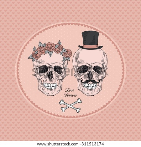 hand drawn scull couple - stock vector