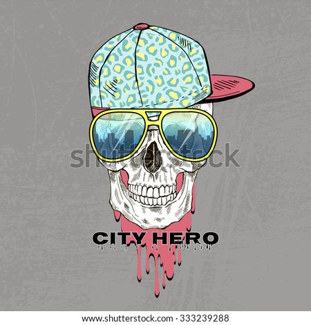 hand drawn scull dressed up in cap and sunglasses, urban style, t-shirt print - stock vector