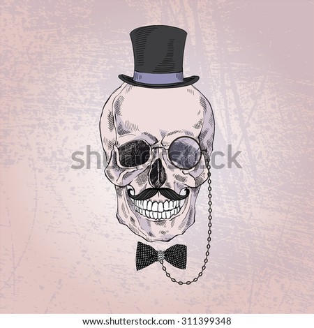 hand drawn scull of gentleman in tall hat, monocle and tie bow - stock vector