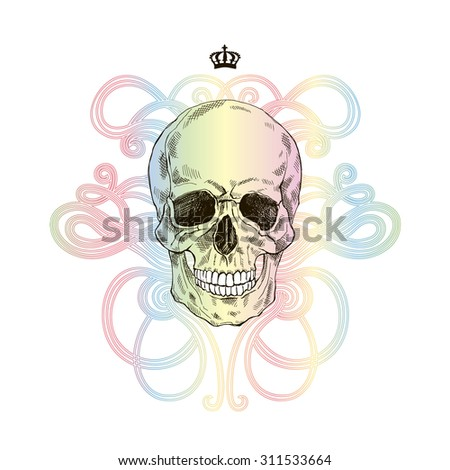 hand drawn scull with colorful gradient - stock vector