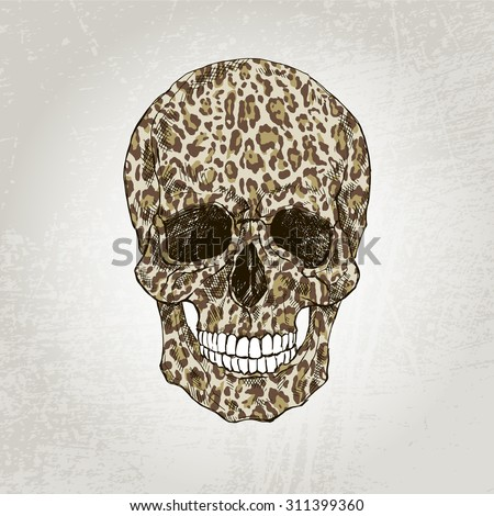 hand drawn scull with leopard print, t-shirt design - stock vector
