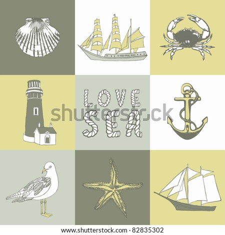 hand drawn sea collection - stock vector