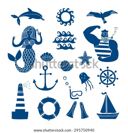 Hand drawn sea icons cartoon set with sailor, lighthouse, mermaid, ship and other. Illustrations for your design. - stock vector