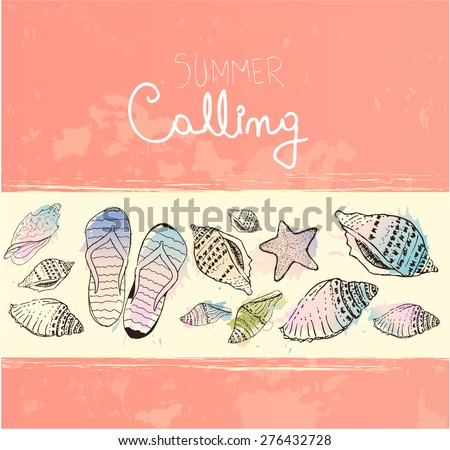 Hand drawn sea shells and flip flops. Vintage summer background - stock vector
