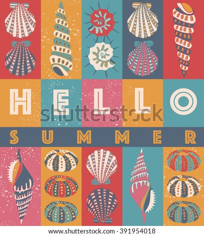 "Hand drawn sea shells, summer design card. Pastel yellow, pink and turquoise color palette. ""Hello Summer"" typographic design."