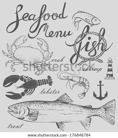 hand-drawn seafood menu - stock vector